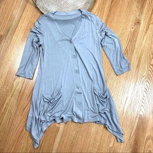 Logo Lori Goldstein Knit Draped Cardigan Sweater